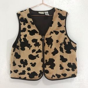White Stag Cow Print Cowgirl/Cowboy Zip up Vest